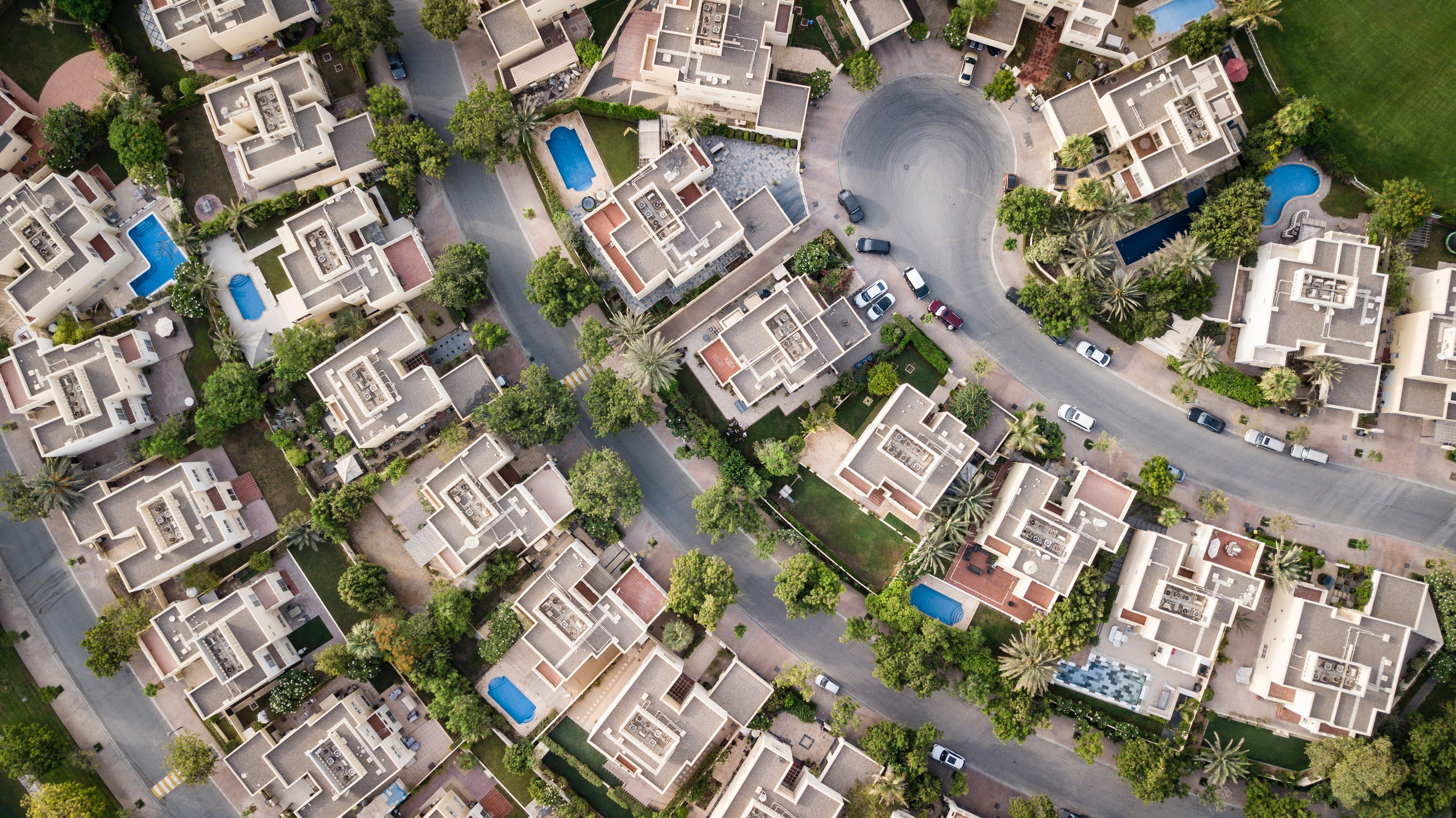 Aerial Shot From a Drone of Real Estate Houses