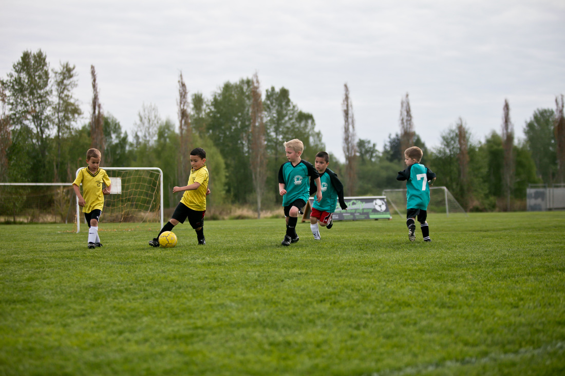 Boys Playing Soccer at a Northwest Fields in North Bellingham, Washington
