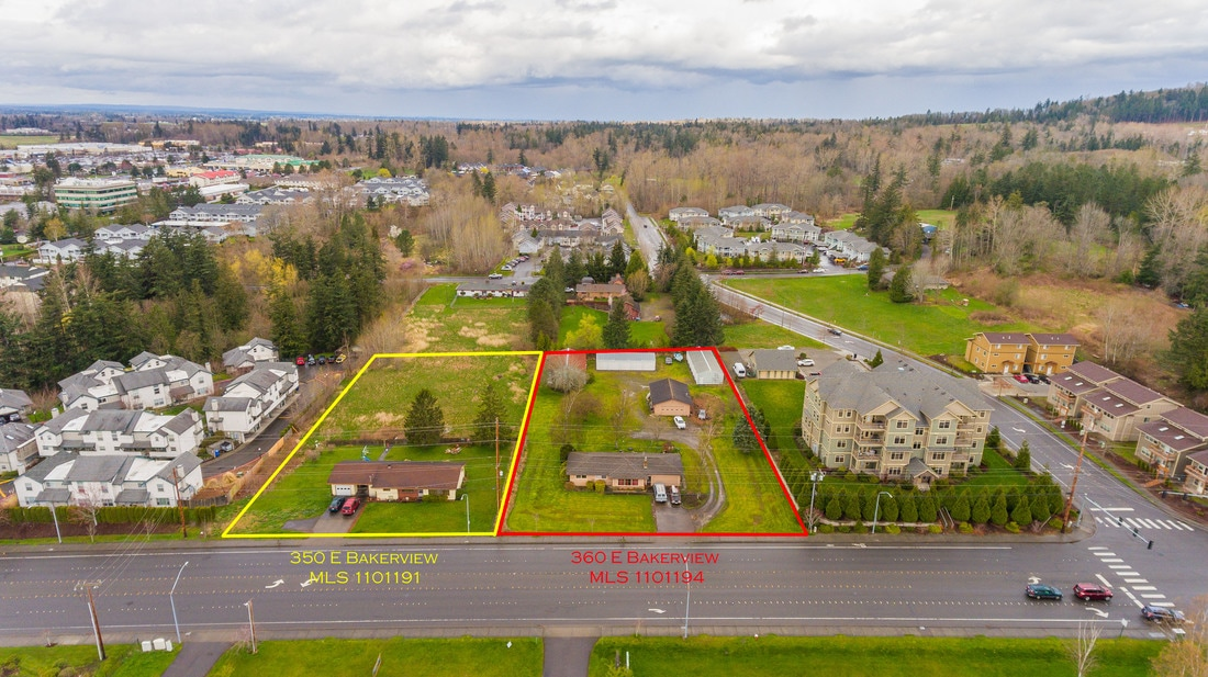Property Lots shown from an aerial drone footage on 350 E. Bakerview in Bellingham, Washington